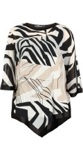 Q´neel - Q-neel oversize poncho top with round neck and in super nice print also with shiny edge