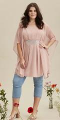 Zhenzi - Tunika/Kleid mit fest genäht Unterrock und Chiffon Ärmeln und V-Hals