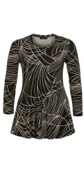 Q´neel - Blouse in nice graphic pattern with round neck and long sleeves