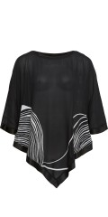 Q'neel - Oversize poncho top with round neck and in super nice print also with shiny edge