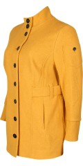 Que - Impressive stylish wool jacket in trenchcoat style with black buttons and pockets