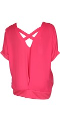 Cassiopeia - Nice blouse with short wing sleeve and wide rib at the bottom