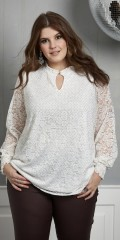 Zhenzi - Fine lace blouse strewn with small golden rivets. smock end in sleeves and neck