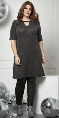 Tunica with 2/4 sleeves and smart neckline in strechy silver