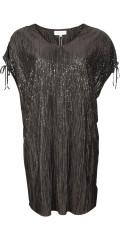 Zhenzi - Tunika kjole i plissé med v-hals og rynke over skuldrene