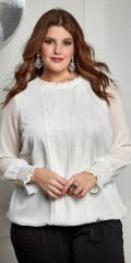 Zhenzi - Long-sleeve blouse with smock and flounce in the sleeves also pleat centrally front