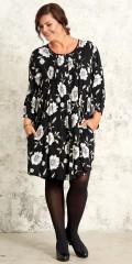 Gozzip - Genom knappad tunika klänning i vacker tryck och med 2 fickor och 3/4 ärmar med gummiband kant