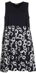 Gozzip - Kleid ohne Ärmeln und mit blumengemustert unten genäht in Volants