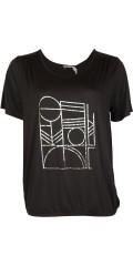 Cassiopeia - T-shirt med print og elastik afslutning forneden
