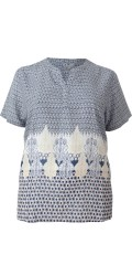 Cassiopeia - Bitte T-Shirt mit kurz Ärmeln und hübsch V-Hals sowie smart Muster