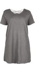 Cassiopeia - Felice Kleid mit kurze Ärmeln und hübsch Kreuzung auf dem Rücken