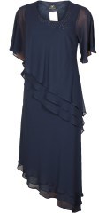 Kirsten Krog Design - Elegant midnight blue evening dress with chiffon sleeves and layer on layer top