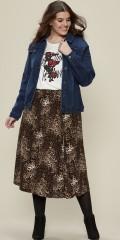 Zhenzi - Halvlang leopard nederdel med elastik i hele taljen syet i baner i strækbart materiale
