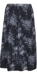 Zhenzi - Halvlång leopard kjol med gummiband i hela midjan påsydd i låtar i strækbart material