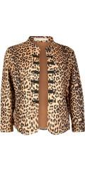 Cassiopeia - Smart offen der Anzug/Blazer-Jacke in strækbart Material mit Leoparde Druck.