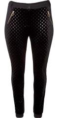 Zoey - Mille byxor i mjuk prickade velour framsida och med 2 blixtlås fickor