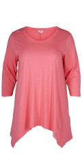 Zizzi - Stylish t-shirt with 3/4 sleeves and asymmetric end at the bottom