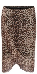Zizzi - Leopard wrap skirt with rubber band in whole the waist, fake wrap around with wide flounce
