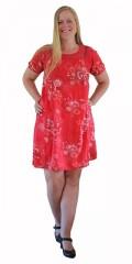 Cassiopeia - Let og luftig sommerkjole/tunica i fast stof med print og blonde bærestykke