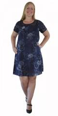 Cassiopeia - Lett og luftige sommerkjole/tunika i hard stoff med trykk og blonde bærestykke