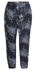 Zhenzi - Leopard pants with wide rubber band in the waist in strechy material with silver coloured galon