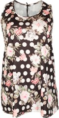 container+ - Long stretch top with although floral print in light a-shaped