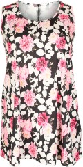 container+ - Long strechy top with although floral print in light a-shaped