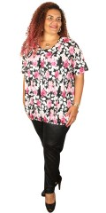 container+ - Strechy t-shirt with although floral print with round neck and elastic closure at the bottom