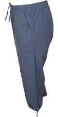 Adia - Bomulds stumpebukser loose fit med elastik og snøre i taljen, syet i fast stof