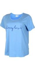 Zizzi - Smart bomulds t-shirt med velour tryk