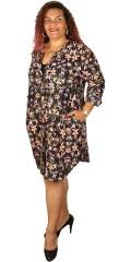 Adia - Nice flowery big shirt in hard fabric with pockets