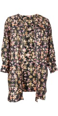 Adia - Nice flowery big shirt in hard fabric with pockets