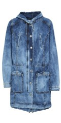 Aprico - Warm lined denim coat with 4 pockets and cap, can laced in in the waist and at the bottom