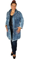 Aprico - Long denim jacket with 4 pockets and cap, can laced in in the waist and at the bottom