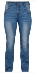 Adia - Smart strechy jeans with light wash effect, adjustable rubber band in the waist