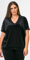 Mat Fashion - Light oversize velours blouse with short sleeves and v cutting