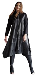 Mat Fashion - Long dress/jacket with fake leather front and long shiny zipper, in asymmetric lengths
