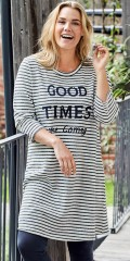 CISO - Nice striped dress with 3/4 sleeves, printed text and some fine pearls front