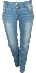 Adia Fashion - Smart strechy jeans med hög linning, lätt vask effekt, justerbar gummiband i midjan