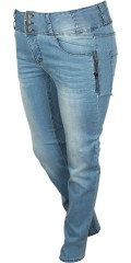 Adia Fashion - Smart strechy jeans with high band, light wash effect, adjustable rubber band in the waist