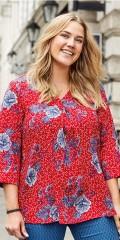 CISO - Bluse mit 3/4 Ärmeln und V-Hals und in smart gedruckt Muster