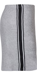 Zhenzi - Soft strechy knit skirt with rubber band in whole the waist and smart sports stripes in the sides