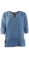 Aprico - Soft and nice denim tunica in hard fabric with 3/4 sleeves