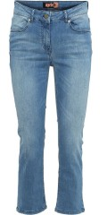 Aprico - Strechy denim stump trousers with light wash effect also worn-out effect