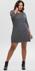 ONLY Carmakoma - Jennifer klänning med 3/4 ärmar och vita randar