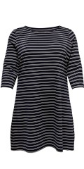 ONLY Carmakoma - Jennifer dress with 3/4 sleeves and white stripes