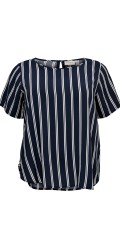 ONLY Carmakoma - Max blouse with short sleeves and vertical white stripes
