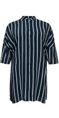 ONLY Carmakoma - Max oversize shirt with china collar 3/4 sleeves and vertical stripes