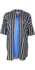 ONLY Carmakoma - Max oversize skjorte med kina krave 3/4 ermer og vertikale striper