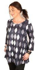 container+ - Tunica with 3/4 sleeves in strechy printed material